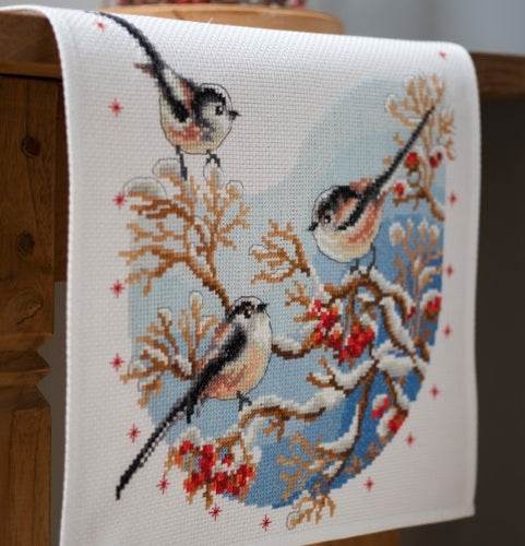 Long Tailed Tits Cross Stitch Kit Table Runner, Vervaco pn-0158341