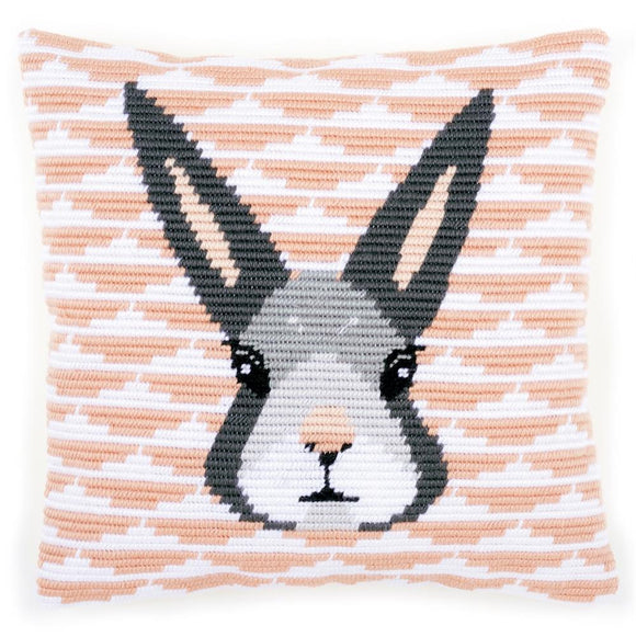 Yvonne Rabbit Long Stitch Kit, Vervaco Cushion Front PN-0158278