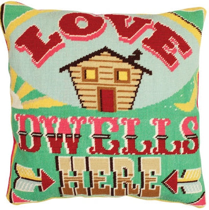 Love Dwells Here Tapestry Kit, Emily Peacock Needlepoint C115K