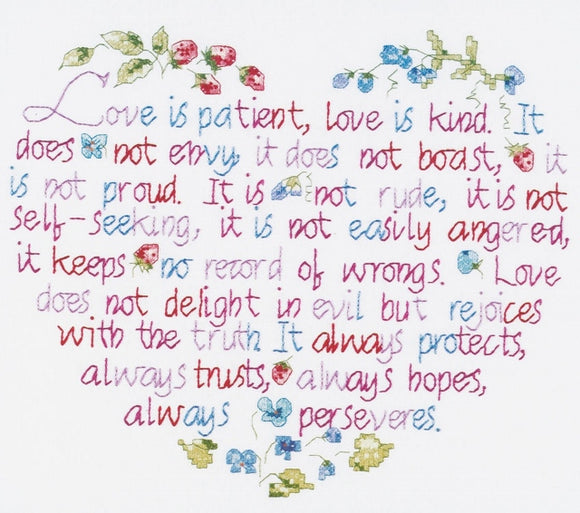Love is Patient PRINTED Cross Stitch Kit, Janlynn 087-1301
