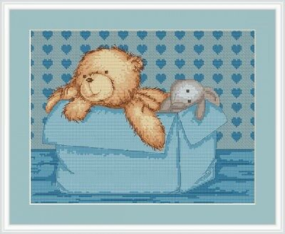 Blue Teddy Nursery, Counted Cross Stitch Kit Luca-s B130