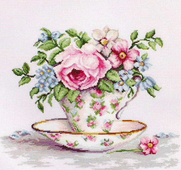 Blooms in a Teacup Cross Stitch Kit Luca-s B2321