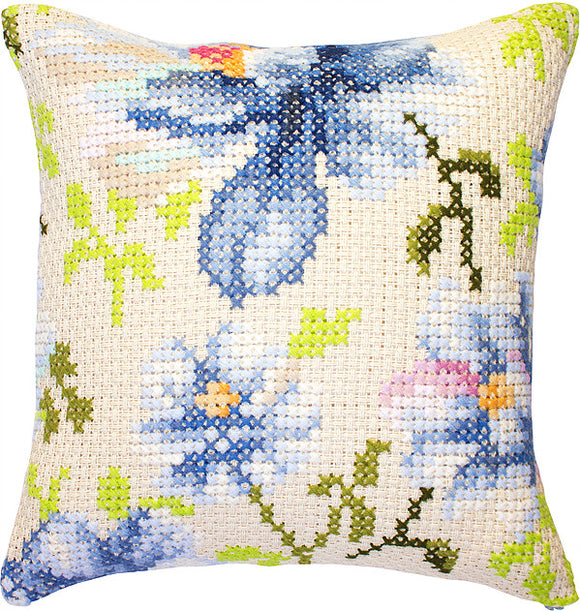 Blue Flower Cushion, Counted Cross Stitch Kit Luca-s PB155