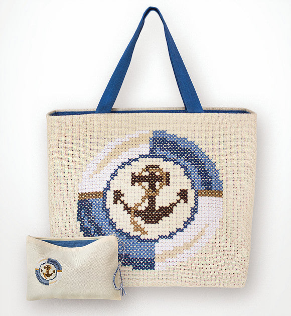Blue Anchor Counted Cross Stitch Kit Bag and Purse Luca-s BAG003