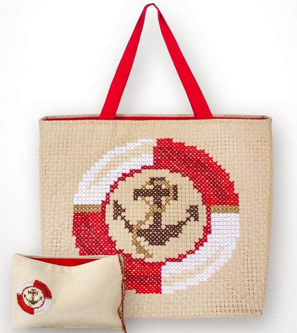 Red Anchor Counted Cross Stitch Kit Bag and Purse Luca-s BAG002