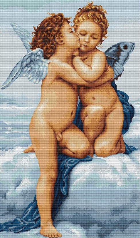 First Kiss, Counted Cross Stitch Kit Luca-s B317