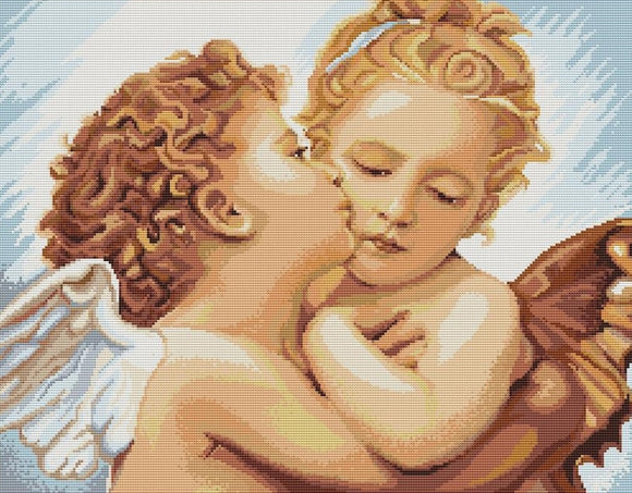 First Kiss Cherubs, Counted Cross Stitch Kit Luca-s B400