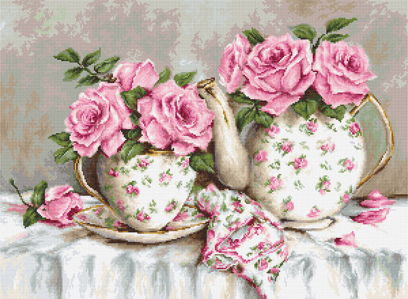 Morning Tea and Roses, Counted Cross Stitch Kit Luca-s B2320