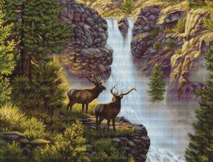 Petit Point Kit Waterfall, COUNTED Half Cross Stitch Kit Luca-s G470