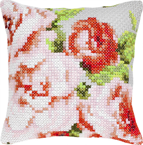 Red Flower Cushion, Counted Cross Stitch Kit Luca-s PB165
