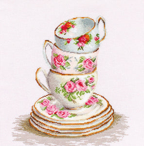 Three Stacked Teacups, Counted Cross Stitch Kit Luca-s B2323