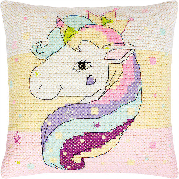 Unicorn Cushion, Counted Cross Stitch Kit Luca-s PB181