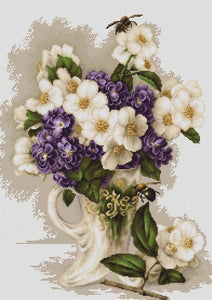 Vase with Jasmine, Counted Cross Stitch Kit Luca-s B512