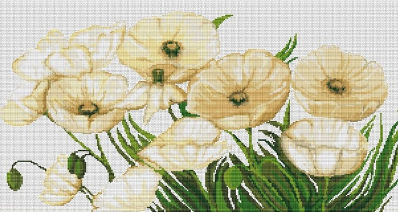 White Poppies, Counted Cross Stitch Kit Luca-s B273