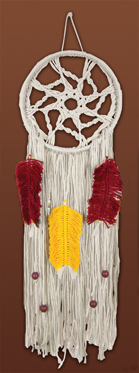 Macrame Kit, Wall Hanging Cotton Knot Kit Coloured Feather Dreamcatcher 24