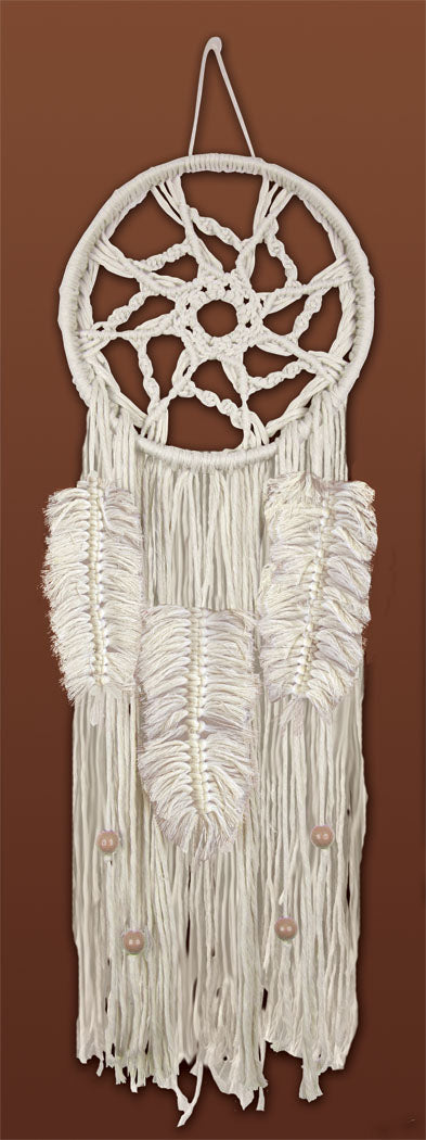 Macrame Kit, Wall Hanging Cotton Knot Kit Natural Feather Dreamcatcher 24