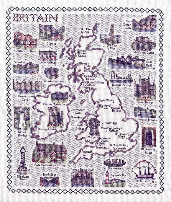 Map of Britain Cross Stitch Kit, Classic Embroidery SA038