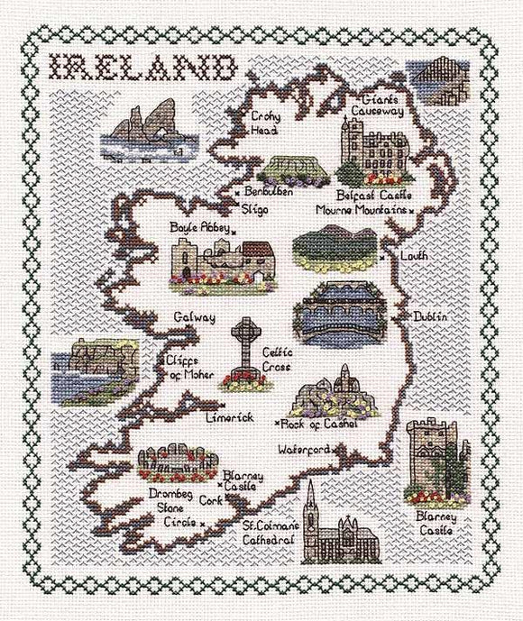 Map of Ireland Cross Stitch Kit, Classic Embroidery SA134