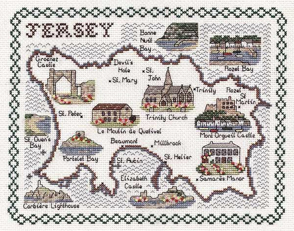 Map of Jersey Cross Stitch Kit, Classic Embroidery SA159