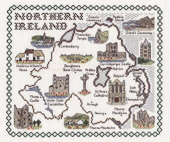 Map of Northern Ireland Cross Stitch Kit, Classic Embroidery SA184