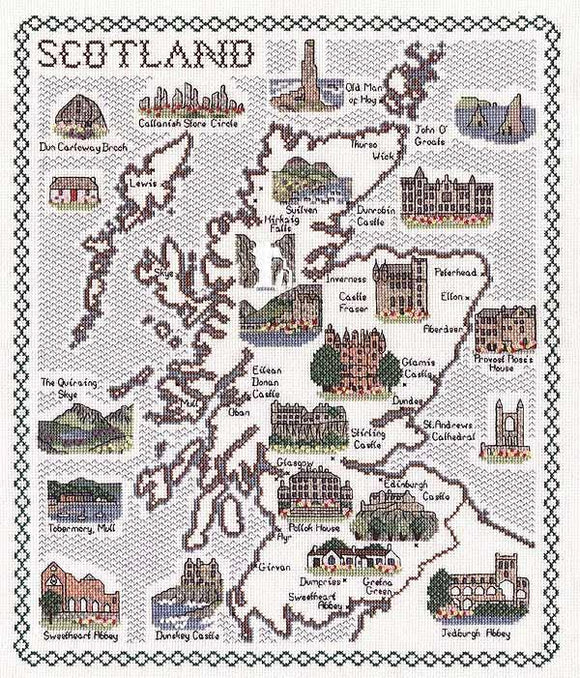 Map of Scotland Cross Stitch Kit, Classic Embroidery SA177