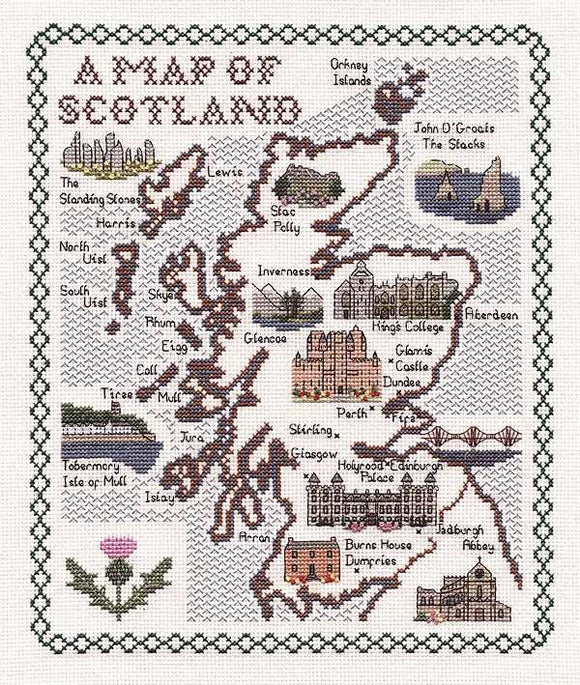 Map of Scotland Cross Stitch Kit, Classic Embroidery SA065
