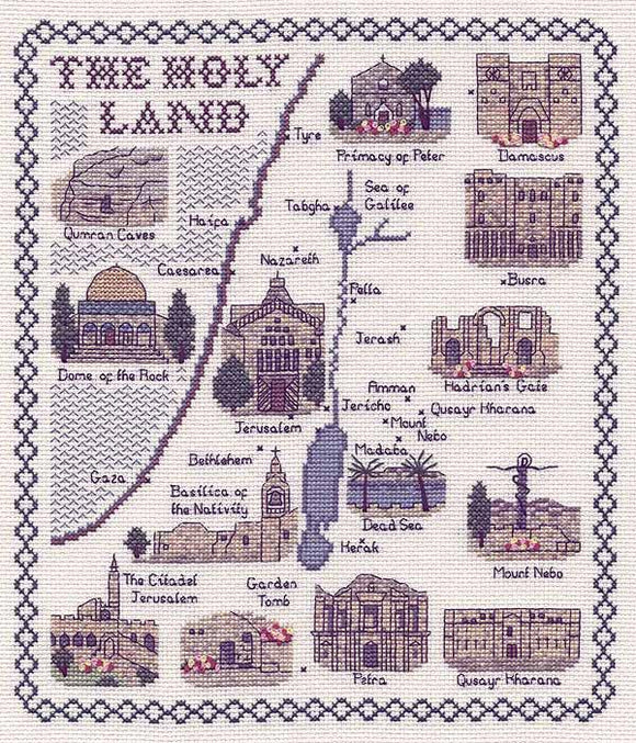 Map of The Holy Land Cross Stitch Kit, Classic Embroidery SA223
