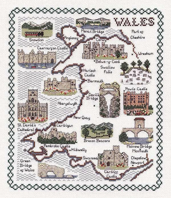 Map of Wales Cross Stitch Kit, Classic Embroidery SA067
