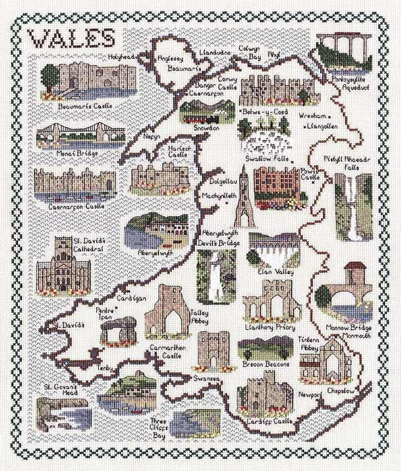 Map of Wales Cross Stitch Kit, Classic Embroidery SA143