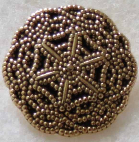 Metal Buttons, Cobweb Flower Designer Button, Gold - 20mm
