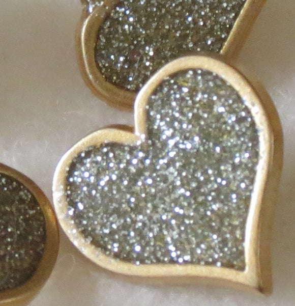 Metal Buttons, Gold Heart Silver Glitter Button - 14mm