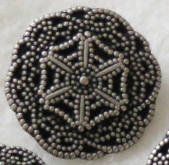 Metal Buttons, Cobweb Flower Designer Button, Pewter - 15mm