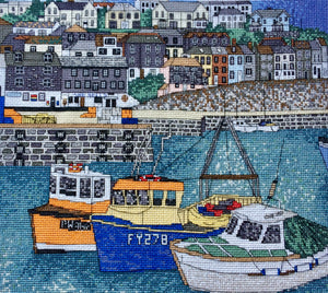 Mevagissey Harbour, Cornwall Counted Cross Stitch Kit, Emma Louise Art Stitch
