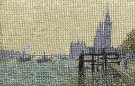 The Thames Below Westminster, Monet Cross Stitch Kit, DMC BL1113/71