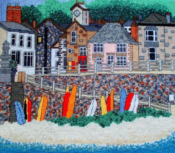 Mousehole Harbour, Cornwall Counted Cross Stitch Kit, Emma Louise Art Stitch