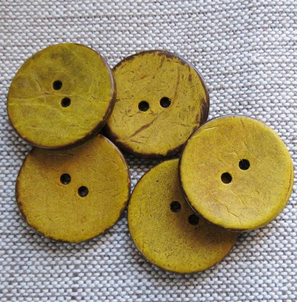 Coconut Buttons, Mustard Rustic Textured Coconut Button - Medium, 23mm