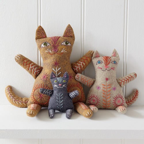 Cat Family Wool Felt Embroidery Kit, Nancy Nicholson - set of 3