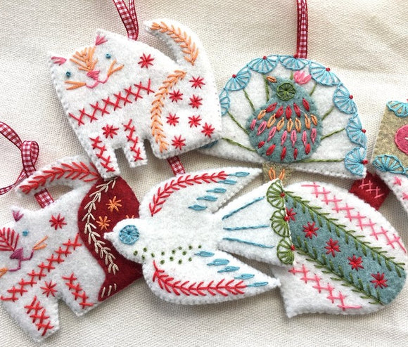 Folk Art Decorations Wool Felt Embroidery Kit, Nancy Nicholson - set of 6