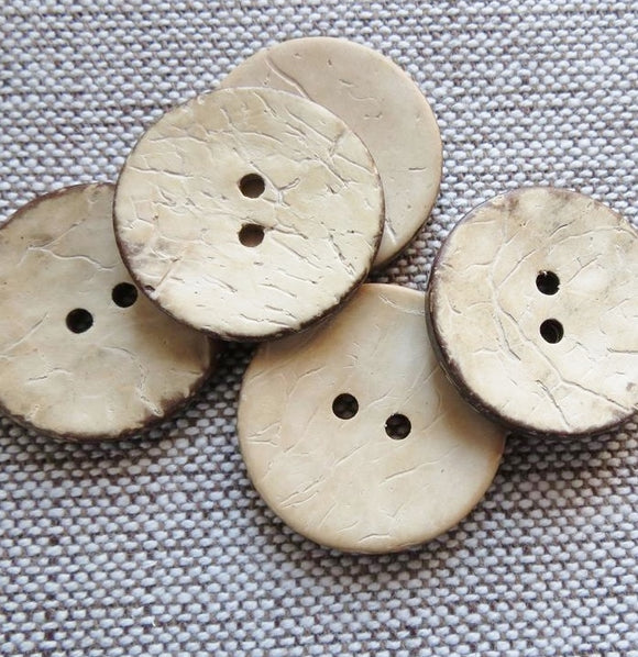 Coconut Buttons Natural Cream Rustic Textured Coconut Button -Medium 23mm