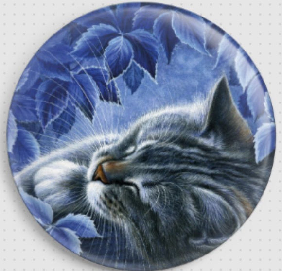 Needle Minder, Magnetic Needle Keeper -Blue Hour Cat 37mm