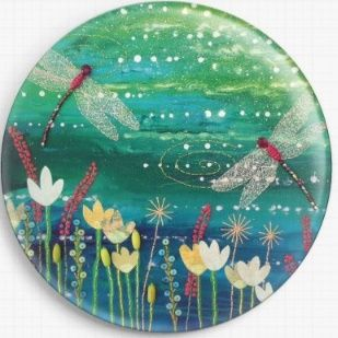 Needle Minder, Magnetic Needle Keeper -Dragonfly Pool, Jo Grundy 37mm