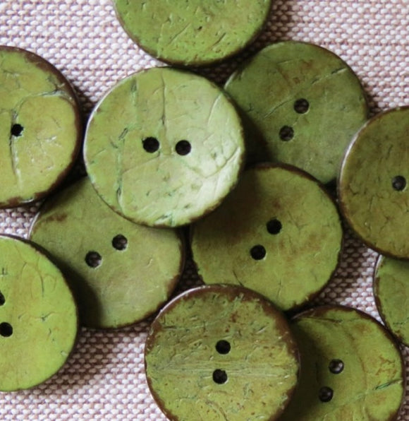 Coconut Buttons Olive Green Rustic Textured Coconut Button -Medium 23mm
