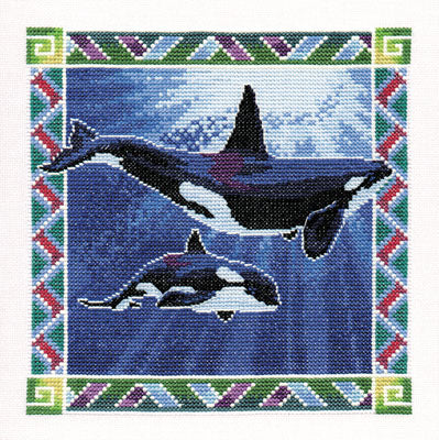 Orca Whales Cross Stitch Kit, Heritage Crafts -Peter Underhill