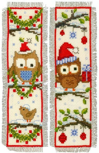 Owls in Christmas Hats Bookmarks Cross Stitch Kit, Vervaco pn-0149284