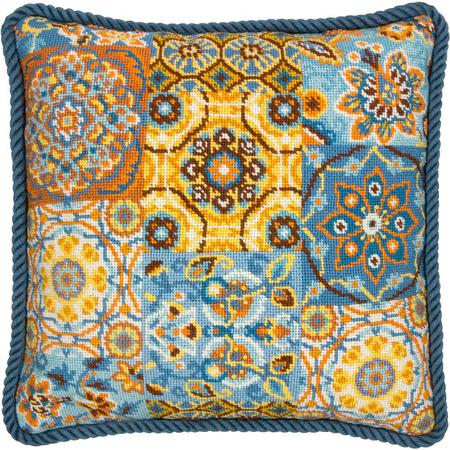 Patterns on Blue Tapestry Needlepoint Kit, Dimensions D71-20081