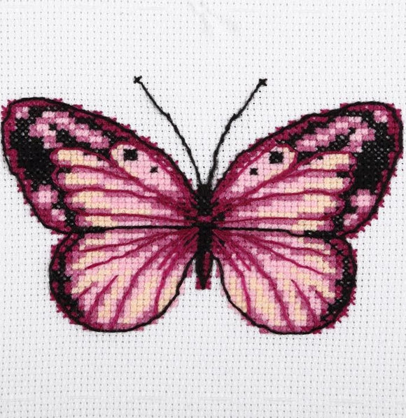 Pink Butterfly Cross Stitch Kit, VDV TM-0214