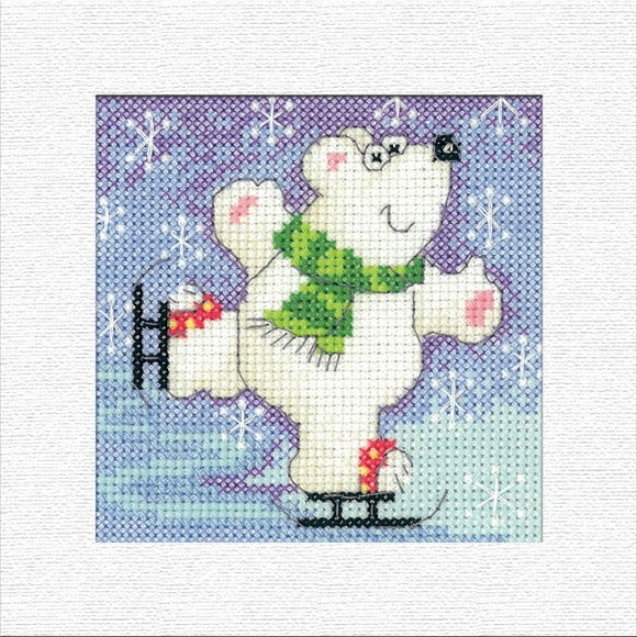 Polar Bear Christmas Card Cross Stitch Kit, Heritage Crafts -Karen Carter