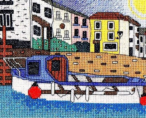 Polperro Harbour, Cornwall Counted Cross Stitch Kit, Emma Louise Art Stitch