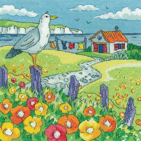 Poppy Shore Cross Stitch Kit, Heritage Crafts -Karen Carter