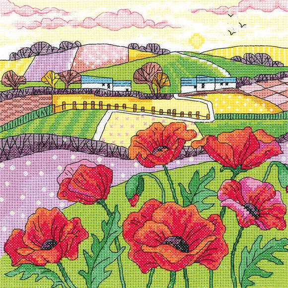 Poppy Landscape Counted Cross Stitch Kit, Heritage Crafts -Karen Carter